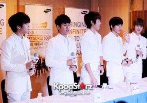 """INFINITE Shows Off Their Boyish Charms At One Great Step Press Conference In Singapore: Shares """"45 Degree Is The Point"""" [PHOTOS]"""