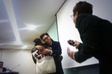 Big Bang T.O.P Looks Shy as he Hugs University Student