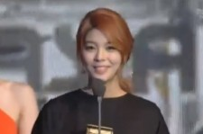 South Korean singer Ailee appeared upbeat while accepting her 2013 Mnet Asian Music Award (MAMA) in the category of Best Female Vocal Performance at Friday's televised ceremony in Hong Kong.