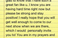 Dara writes personal letter for fan's final wish.