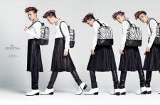 G-Dragon daringly wears a skirt over pants in a way that very few models can.