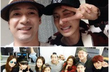 EXO's Chanyeol with his roomate and the entire cast of 'Roomates'.