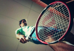 Dramatic! Roger Federer with his newly engineered Wilson racquet