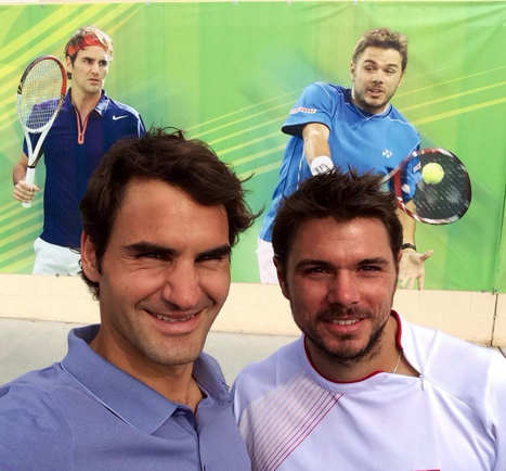 Seeing double! Roger Federer with Stan Wawrinkakey=>4 count6