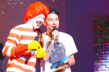 Hip hop artist and 'Danny from LA' host Dumbfoundead with Ronald McDonald for the B-Boy Battle Royale.