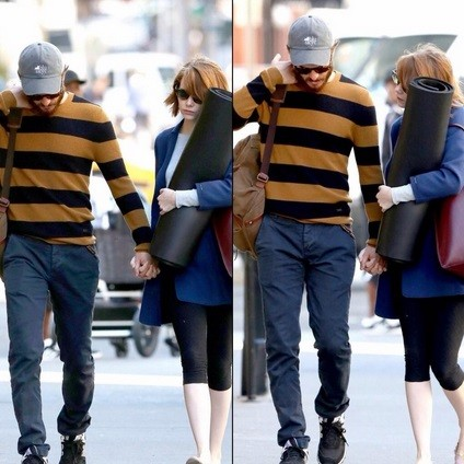 Emma Stone and boyfriend Andrew Garfield hiding from the paparazzi key=>1 count6
