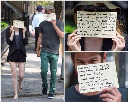 Emma Stone and boyfriend Andrew Garfield hiding from the paparazzi key=>3 count6