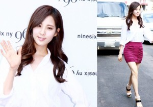Girls' Generation (SNSD) Seohyun looks Sexy in a Purple Mini Skirt at 96ny 12' F/W New Collection with Chris Han