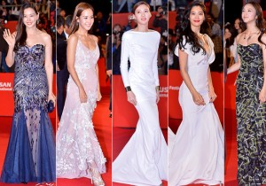 Lee Ha Nui, Jo Yeo Jung, Cha Ye Ryu, Clara and Tan Wei on the Red Carpet at the BIFF 2014