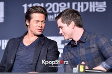 Brad Pitt Premieres 'Fury' at Time Square in Seoul with Logan Lerman