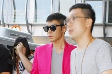 Big Bang TOP Airport Fashion, Hot Pink Jacket 'Fashion King'