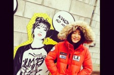 kwon sohyun in front of her own illustration