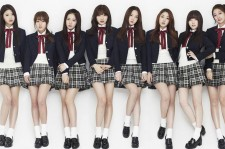 Lovelyz in their signature schoolgirl uniforms