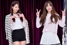 Nine Muses' Kyungri and EXID's Hani at a Press Conference of MBC Every1 'Match Made in Heaven Returns'