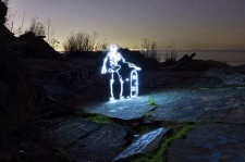 Animated Skeleton On Skateboard, Drawn With Light