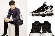 Kim Soo Hyun Fila Heritage 2015 Pictures Fila Spaghetti Black-White Basketball Sneakers