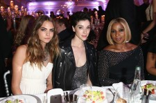 Cara Delevigne and St. Vincent with Mary J. Blige at one 68th Annual Cannes Film Festival party last May.