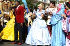 Disney characters during a taping.