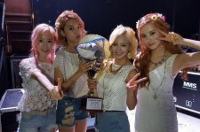 Sooyoung, Hyoyeon, Taeyeon, and Seohyun backstage during their win on 'Show Champion'
