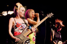 Kaila Yu (right) performing with Nylon Pink