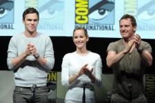 Nicholas Hoult, aJennifer Lawrence and Michael Fassbender at the 20th Century Fox Panel - Comic-Con International 2013