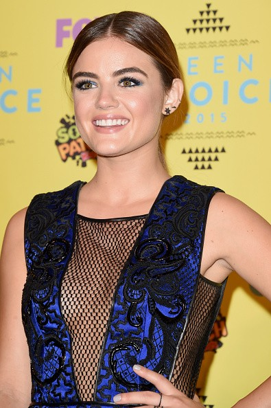 Actress Lucy Hale, winner of the Choice TV Actress: Drama award for Pretty Little Liars, poses in the press room during the Teen Choice Awards 2015 at the USC Galen Center on August 16, 2015 in Los Angeles, California.key=>0 count6