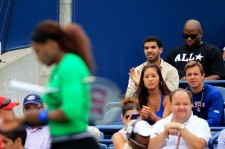 Drake attends the final between Serena Williams and Samantha Stosur of the Rogers Cup on August 14, 2011 in Toronto, Ontario, Canada.
