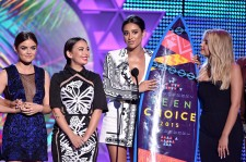 Lucy Hale, Janel Parrish, Shay Mitchell and Ashley Benson accept the Choice TV: Drama Show for 'Pretty Little Liars' onstage during the Teen Choice Awards 2015 on August 16, 2015.