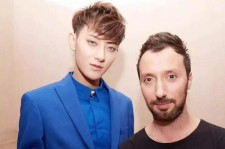 Tao with Versus Versace Creative Director Anthony Vaccarello After Arriving Late for the Runway Show