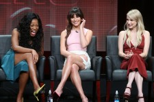 Actresses Keke Palmer, Lea Michele and Emma Roberts speak onstage during the 'Scream Queens' panel discussion at the 2015 Summer TCA Tour on August 6, 2015 in Beverly Hills, California.