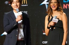 DramaFever's Grace Subervi with Roy Kim, on KCON 2015 red carpet.