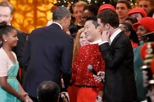 Psy Wears Flashy Red Outfit and Performs in front of President Obama