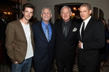 Grant Gustin, Mark Pedowitz, President of The CW Network, Victor Garber and Wentworth Miller attend the CW Network's 2015 Upfront party at Park Avenue Spring on May 14, 2015 in New York City.