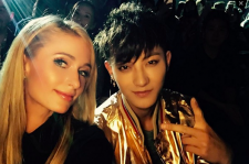 Former EXO member Tao (Z.Tao) with Paris Hilton at Shanghai Fashion Week