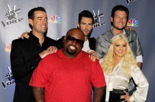Carson Daly, Adam Levine, Blake Shelton, CeeLo Green and Christina Aguilera at a 2011