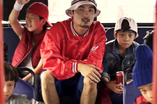 South Korean rapper Ja Mezz with his young co-stars of the music video for