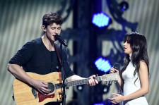 Shawn Mendez and Camila Cabello performing at the 106.1 KISS FM's Jingle Ball 2015.
