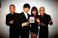 Electro Boyz snap a picture with Sistar Hyo-rin