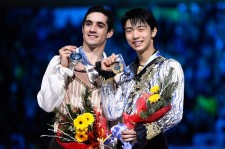 Javier Fernandez and Yuzuru Hanyu at 2014 World Figure Skating Championships