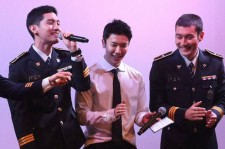 Donghae, Siwon and Changmin were photographed together on stage for a special Seoul Metropolitan Police event on January 9 - Credit: HejochTack