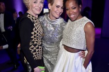 (L-R) Actresses Holland Taylor, Sarah Paulson and Regina King attend the after party for the 21st Annual Critics' Choice Awards at Barker Hangar on January 17, 2016 in Santa Monica, California.