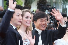 From left: co-stars Kwon Sang-woo, Laura Weissbecker, and Jackie Chan at a press event of their film