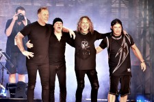 (L-R) Musicians James Hetfield, Lars Ulrich, Kirk Hammett and Robert Trujillo of Metallica take a bow onstage at CBS RADIO's third annual 'The Night Before' at AT&T Park on February 6, 2016 in San Francisco, California.