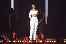 Rihanna performs on stage at the BRIT Awards 2016 at The O2 Arena on February 24, 2016 in London, England.