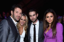 L-R) NFL player Tony Romo, Candice Crawford, actor Chace Crawford, and actress Nina Dobrev attend DirecTV Super Saturday Night hosted by Mark Cuban's AXS TV and Pro Football Hall of Famer Michael Strahan at Pendergast Family Farm on January 31, 2015 in Gl
