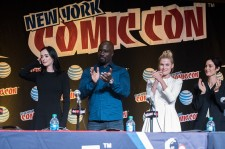 Krysten Ritter, Mike Colter, Rachel Taylor and Carrie-Anne Moss attend the Netflix Presents The Casts Of Marvel's Daredevil And Marvel's Jessica Jones At New York Comic-Con at Jacob Javits Center on October 10, 2015 in New York City.