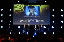 Dean Charles-Chapman, Liam Cunningham, Kit Harington, Isaac Kempstead and Thomas Brodie-Sangster collect the Empire Hero Award for 'Game of Thrones' on stage during the Jameson Empire Awards 2015 at the Grosvenor House Hotel on March 29, 2015 in London, E