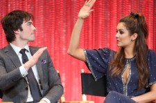 Actor Ian Somerhalder (L) and actress Nina Dobrev speak during The Paley Center for Media's PaleyFest 2014 Honoring 'The Vampire Diaries' and 'The Originals' at the Dolby Theatre on March 22, 2014 in Hollywood, California.