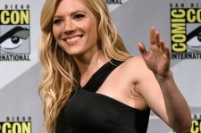 Actress Katheryn Winnick waves as she arrives at a panel for the History series 'Vikings' during Comic-Con International 2015 at the San Diego Convention Center on July 10, 2015 in San Diego, California.
