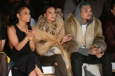 Christina Milian, Karrueche Tran, and Chris Brown attend the Michael Costello fashion show during Mercedes-Benz Fashion Week Fall 2015 at The Salon at Lincoln Center on February 17, 2015 in New York City.